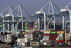 June 28, 2017 - Los Angeles, California, U.S - Photo taken on February 18, 2015: Cargo is stacked up on the docks in Port of Los Angeles. Shipping giant A.P. Moller-Maersk, which handles one out of seven containers shipped globally, said the Petya cyber attack had caused outages at its computer systems across the world on Tuesday. The attack came as computer servers across Europe and in India were hit by a major ransomware attack. (Credit Image: © Ringo Chiu via ZUMA Wire)