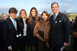 Left to right, WILL HERBERT, CHLOE HERBERT,  FRANCESCA HERBERT and their parents CHICA HERBERT & the HON.HARRY HERBERT at the 2013 Hennessy Gold Cup at Newbury Racecourse, Berkshire on 30th November 2013.