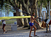Barcelona, SPAIN. General Views round the boating area, athlete carry oars blades 1992 Olympic Rowing Regatta Lake Banyoles, Catalonia [Mandatory Credit Peter Spurrier/ Intersport Images]