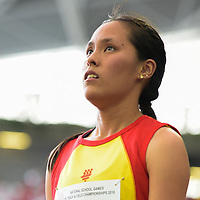 Jezebel Koh (#251) of Hwa Chong Institution after failing to clear 1.56m on her third attempt in the A Division girls' high jump final. (Photo © Eileen Chew/Red Sports)