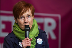 London, UK. 19 October, 2019. Susan Martin, a People's Vote activist from England, addresses hundreds of thousands of pro-EU citizens at a Together for the Final Say People's Vote rally in Parliament Square as MPs meet in a 'super Saturday' Commons session, the first such sitting since the Falklands conflict, to vote, subject to the Sir Oliver Letwin amendment, on the Brexit deal negotiated by Prime Minister Boris Johnson with the European Union.