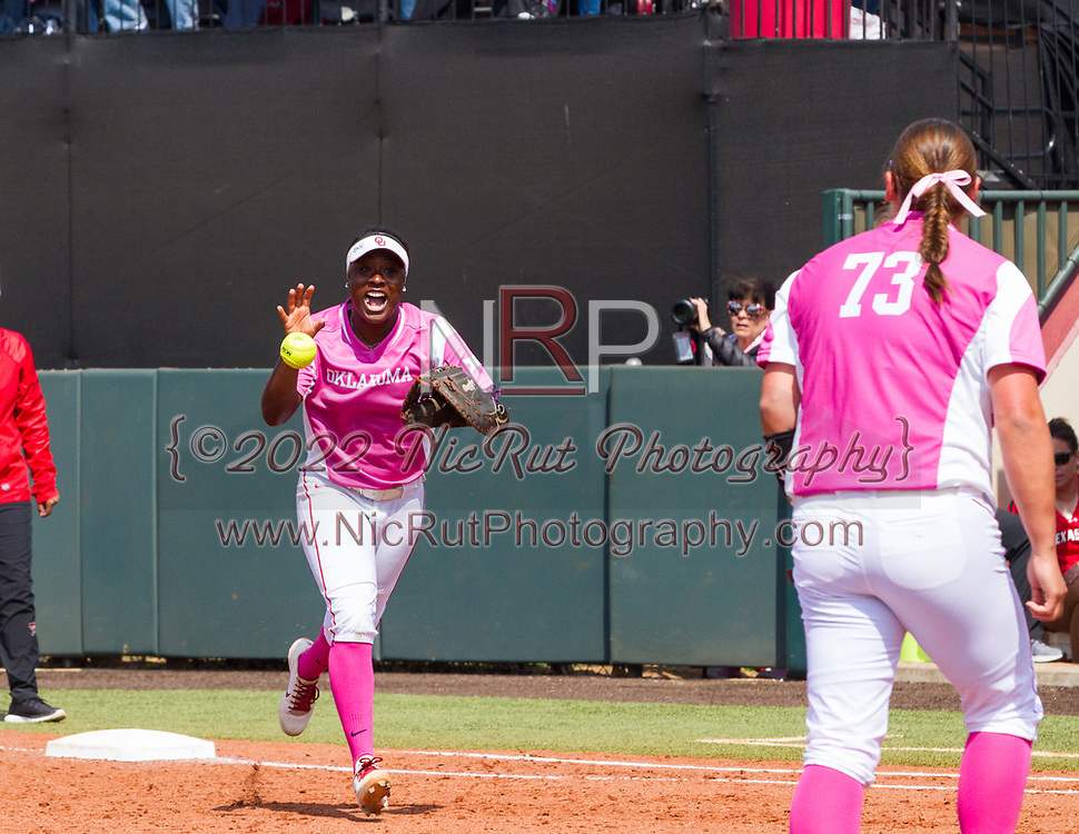 #20 Shay Knighten excited for closing out the inning for the during the Sooners' game against Texas Tech, Sunday, March 25, 2018, at Marita Hynes Field.