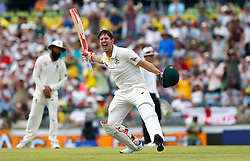 Australia's Mitchell Marsh celebrates his century during day three of the Ashes Test match at the WACA Ground, Perth.