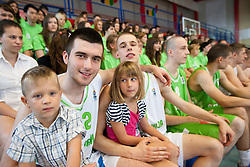 Marko Pajic and Klemen Prepelic during Open day of Slovenian U20 National basketball team before the European Chmpionship in Slovenia, on July 9, 2012 in Domzale, Slovenia.  (Photo by Vid Ponikvar / Sportida.com)