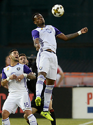 September 9, 2017 - Washington, DC, USA - 20170909 - Orlando City FC forward CYLE LARIN (9) elevates for the ball over D.C. United defender STEVE BIRNBAUM (15) and Orlando City FC forward DOM DWYER (18) in the first half at RFK Stadium in Washington. (Credit Image: © Chuck Myers via ZUMA Wire)
