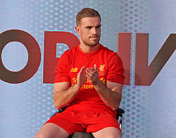 LIVERPOOL, ENGLAND - Monday, May 9, 2016: Liverpool's captain Jordan Henderson at the launch of the New Balance 2016/17 Liverpool FC kit at a live event in front of supporters at the Royal Liver Building on Liverpool's historic World Heritage waterfront. (Pic by David Rawcliffe/Propaganda)