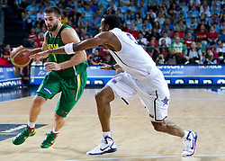 Linas Kleiza of Lithuania vs Andre Iguoala of USA during the first semifinal basketball match between National teams of USA and Lithuania at 2010 FIBA World Championships on September 11, 2010 at the Sinan Erdem Dome in Istanbul, Turkey.   (Photo By Vid Ponikvar / Sportida.com)