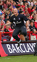 Photo:  Frances Leader, Digitalsport<br /> Charlton Athletic v Crystal Palace. The Barclays Premiership. <br /> The Valley.<br /> 15/05/05<br /> Palace's Manage Iain Dowie celebrates his teams second goal against Charlton which means they will be staying up in the Premiership next season.