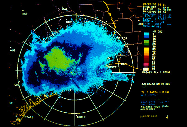 Stock photo of radar imagery of a storm over the Houston, Texas area.