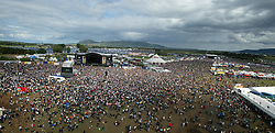 The main arena as seen from the ferris wheel, T in the Park, Sunday 8 July 2007..T in the Park festival took place on the 6th, 7th and 8 July 2007, at Balado, near Kinross in Perth and Kinross, Scotland. This was the first time the festival had been held over three days..Pic ©Michael Schofield. All Rights Reserved..