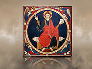 Christ Pantocrator  Wooden Panel from the Church of St. Martin de Tost, Circa 1220<br /> <br /> Tempera with stucco metallic leaf reliefs and on a wood panel.<br /> Church of St. Martin de Tost. Robera of Urgellet, Alt Urgell, Spain<br /> <br /> National Art Museum of Catalonia, Barcelona. Ref: 3905 MNAC<br /> <br /> The wood panel comes from altar of St. Martin de Tost and shows Christ Pantocrator surrounded by the symbols of the four evangelists, St Matthew the man, St Mark the lion, St Luke the ox, and John the eagle. The Tost panel is typical of the Catalan Romanesque painting. .<br /> <br /> If you prefer you can also buy from our ALAMY PHOTO LIBRARY  Collection visit : https://www.alamy.com/portfolio/paul-williams-funkystock/romanesque-art-antiquities.html<br /> Type -     MNAC     - into the LOWER SEARCH WITHIN GALLERY box. Refine search by adding background colour, place, subject etc<br /> <br /> Visit our ROMANESQUE ART PHOTO COLLECTION for more   photos  to download or buy as prints https://funkystock.photoshelter.com/gallery-collection/Medieval-Romanesque-Art-Antiquities-Historic-Sites-Pictures-Images-of/C0000uYGQT94tY_Y
