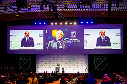 January 11, 2019 - Chicago, IL, U.S. - CHICAGO, IL - JANUARY 11: MLS commissioner Don Garber announces the renaming of the coach of the year award to the Sigi Schmid award in the first round of the MLS SuperDraft on January 11, 2019, at McCormick Place in Chicago, IL. (Photo by Patrick Gorski/Icon Sportswire) (Credit Image: © Patrick Gorski/Icon SMI via ZUMA Press)