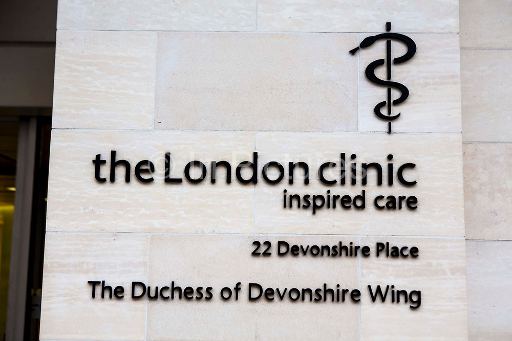 A sign for the London clinic, outside the private hospital at 22 Devonshire Place, London, England, United Kingdom. The Duchess of Devonshire Wing is a cancer facility, which was opened in 2010. The hospital was opened in 1932 in Harley Street and is one of the largest private healthcare providers in the UK.