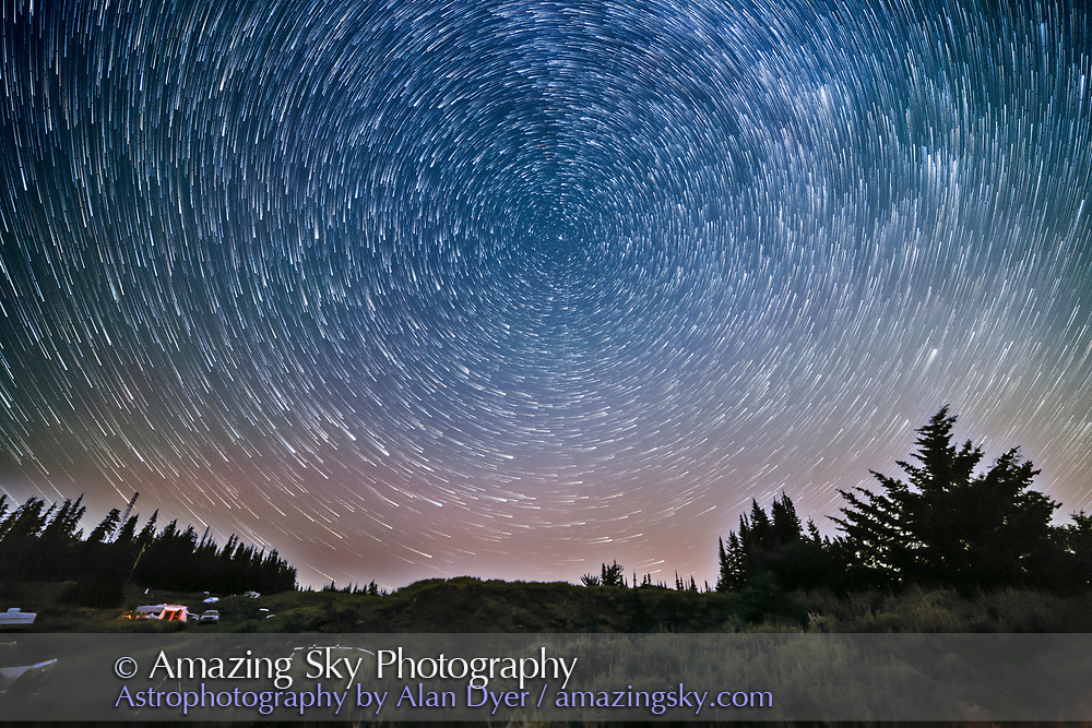 Circumpolar star trails over Mount Kobau Star Party. <br /> <br /> This is a test of the Streaks mode of Advanced Stacker Actions using a foreground mask for the ground from one frame of the 410 that went into the stack.