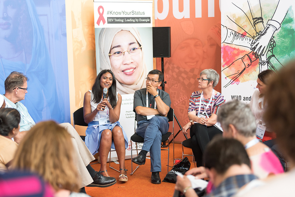 24 July 2018, Amsterdam, the Netherlands: Carmen Figueroa from the World Health Organization speaks during a workshop in the Interfaith Networking Zone, on what it means as a religious leader to get tested publicly for HIV, leading by example. On 23-27 July 2018 in Amsterdam, the Netherlands, the World Council of Churches - Ecumenical Advocacy Alliance in collaboration with faith and other partners hosts an Interfaith Networking Zone in the International AIDS Conference's Global Village area, providing a dynamic space for exchanges, resources and workshops. The Global Village is an integral part and recurring feature of the International AIDS Conference, and offers an accessible venue intended to strengthen the connection between the international conference and the local hosting community.