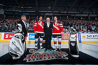 KELOWNA, CANADA - JANUARY 10: Kelowna Rockets President and General Manager, Bruce Hamilton stands  with Madison Bowey #4 and Josh Morrissey #27 of Kelowna Rockets during a celebration of Team Canada gold at the World Junior Hockey Championship on January 10, 2015 at Prospera Place in Kelowna, British Columbia, Canada.  (Photo by Marissa Baecker/Shoot the Breeze)  *** Local Caption *** Bruce Hamilton; Madison Bowey; Josh Morrissey;