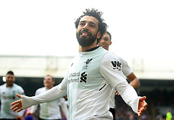 Liverpool's Mohamed Salah celebrates scoring his side's second goal of the game during the Premier League match at Selhurst Park, London.