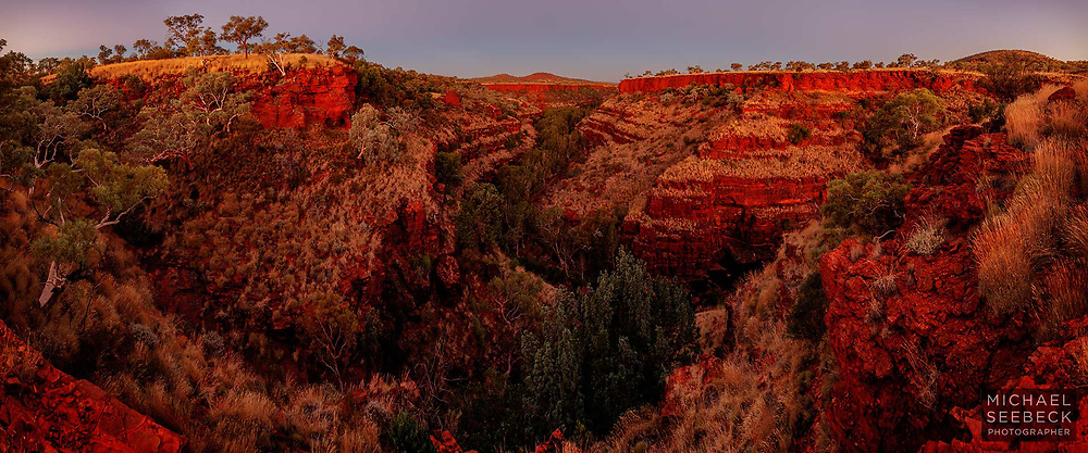 Sunset glow illuminating Dales Gorge, in Karinjini NP in the Pilbara.<br /> <br /> Code: CAWP0001<br /> <br /> Limited Edition of 125 Prints