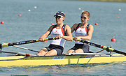 Banyoles, SPAIN, GBR W2-, Bow [R] Olivia WHITLAM and Louisa REEVE, at the start of the Race for lanes in the Women's pair FISA World Cup Rd 1. Lake Banyoles  Saturday, 30/05/2009   [Mandatory Credit. Peter Spurrier/Intersport Images]