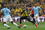 Gerard Deulofeu (7) of Watford on the attack during the The FA Cup Final match between Manchester City and Watford at Wembley Stadium, London, England on 18 May 2019.
