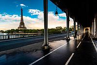 The Eiffel Tower seen from the  pedestrian section of the Bir Hakeim Bridge across the River Seine. Paris, France.