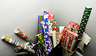 A pile of Christmas wrapping paper.