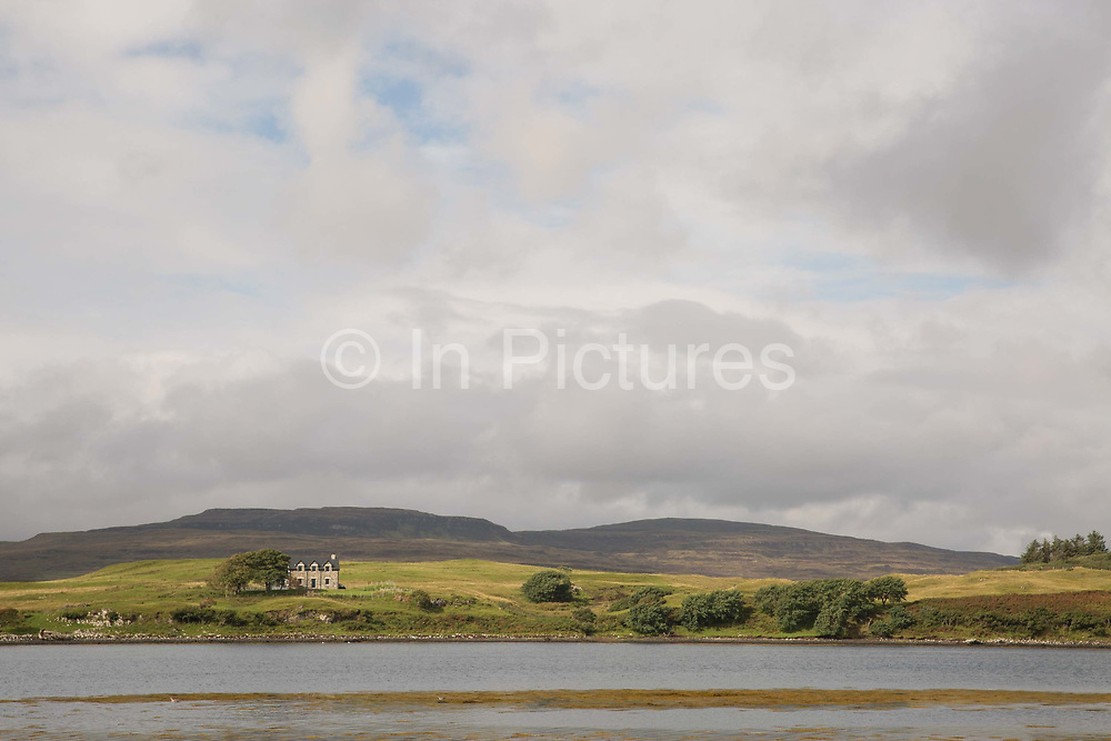 A secluded and grand house over looking Loch Dunvegan on the 4th September 2016 on the Isle of Skye in Scotland in the United Kingdom.