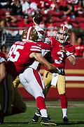 San Francisco 49ers quarterback C.J. Beathard (3) throws a pass against the Arizona Cardinals at Levi's Stadium in Santa Clara, Calif., on November 5, 2017. (Stan Olszewski/Special to S.F. Examiner)