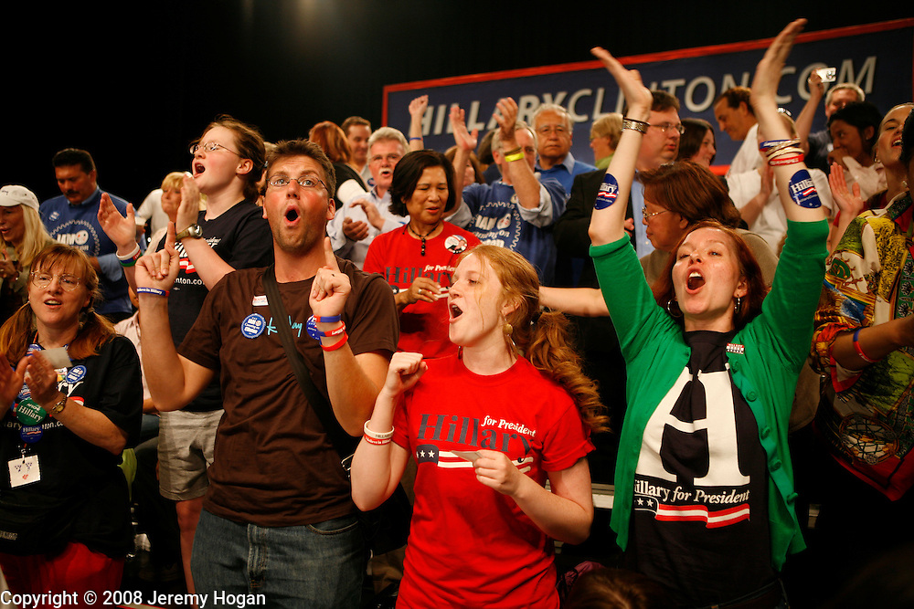 Hillary Clinton supporters cheer while watching the results  come in at the Murat Egyptian Room.