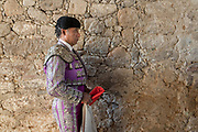A Mexican Matador prepares for his bullfight at the Plaza de Toros in San Miguel de Allende, Mexico.