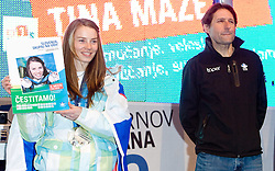 Slovenian 2-times silver medalist alpine skier Tina Maze and her coach Andrea Massi at reception at Preseren's square when she came from Vancouver after Winter Olympic games 2010, on February 28, 2010 in Center of Ljubljana, Slovenia. (Photo by Vid Ponikvar / Sportida)