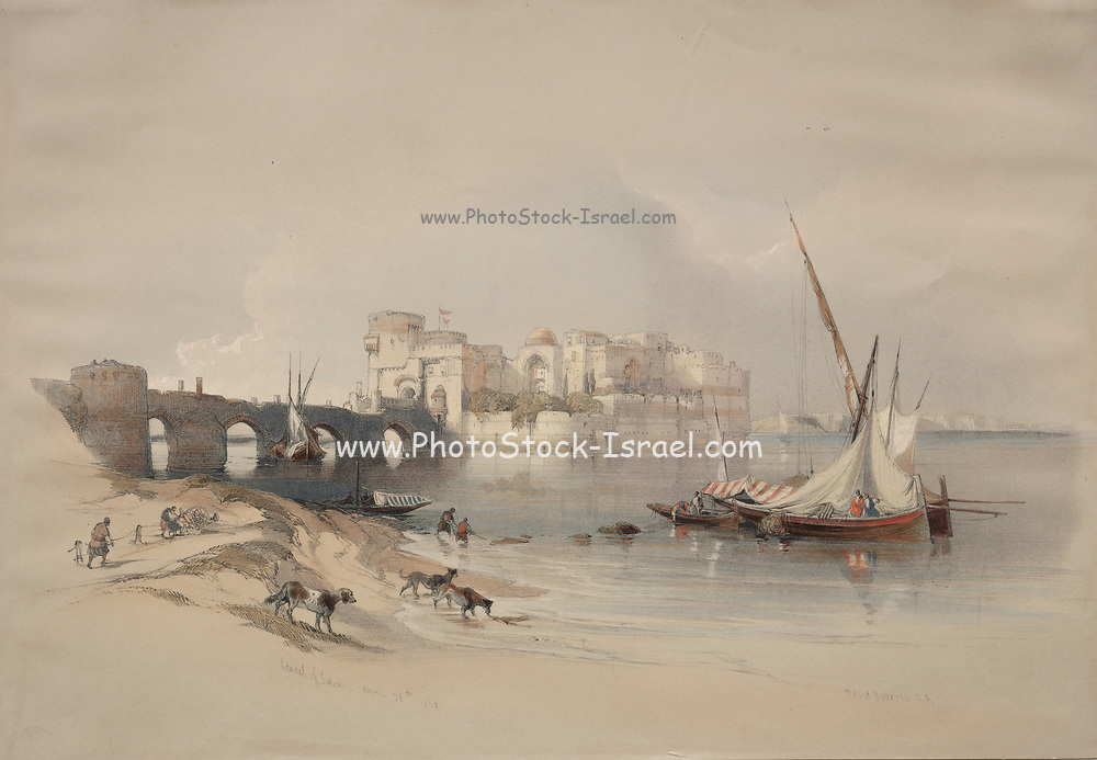 Citadel of Sidon, Lebanon Color lithograph by David Roberts (1796-1864). An engraving reprint by Louis Haghe was published in a the book 'The Holy Land, Syria, Idumea, Arabia, Egypt and Nubia. in 1855 by D. Appleton & Co., 346 & 348 Broadway in New York.