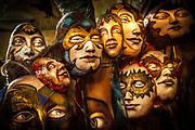 Papier mache masks in Donna Demente's studio ready for Steampunk parade, Oamaru, Otago