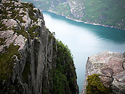 Preikestolen, or Pulpit Rock, above Lysefjorden, Forsand, Rogaland, Norway.