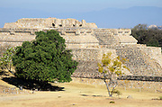 Building IV, a stepped pyramid temple complex at the Zapotec archaeological site of Monte Alban, Oaxaca, Mexico.