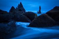 Sea stacks at Reynisfjara Beach Near Vik, Iceland