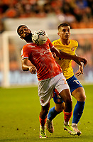 Football - 2021 / 2022 EFL Carabao Cup - Round Two - Blackpool vs. Sunderland -Bloomfield Road - Tuesday 24th August 2021<br /> <br /> CJ Hamilton of Blackpool takes the ball on his chest as Dennis Cirkin of Sunderland challenges, at Bloomfield Road.<br /> <br /> COLORSPORT/Alan Martin