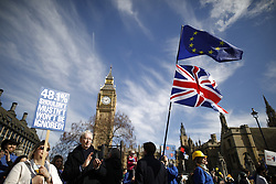 © Licensed to London News Pictures. 25/03/2017. London, UK. Thousands of protestors take part in the Unite for Europe march in Parliament Square. Campaigners are demanding that the UK stays in Europe. Prime Minister Theresa May will invoke article 50 on Wednesday starting the expected two year process of exiting the EU. Photo credit: Peter Macdiarmid/LNP