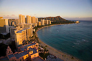 The view of Waikiki Beach from the Hanohano Room, the highest vantage point on Waikiki Beach, Oahu, Hawaii