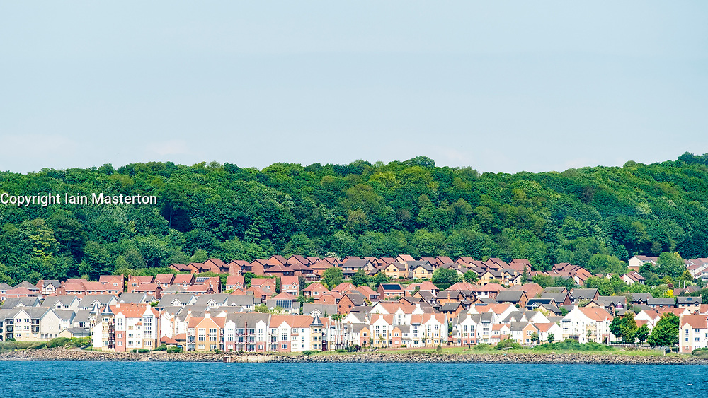 View of houses at Saint Davids on shore of Firth of Forth in Fife , Scotland, United Kingdom, UK