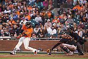 San Francisco Giants shortstop Brandon Crawford (35) swings and misses for a strike against the Baltimore Orioles at AT&T Park in San Francisco, Calif., on August 12, 2016. (Stan Olszewski/Special to S.F. Examiner)
