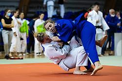 Anka Pogacnik (white) vs Eva Zalaznik (blue) during Judo National Championships 2021 in Balon Hall, Nova Gorica, 20 March 2021, Slovenia. Photo by Grega Valancic / Sportida