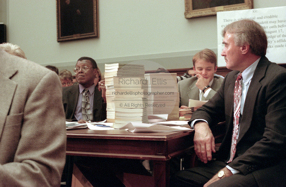 Stacks of reference material during House Judiciary Committee hearings on whether impeachment proceedings should begin against President Bill Clinton October 5, 1998 in Washington, DC. This is only the third time in US history that impeachment proceedings against a President have been brought to the House committee.