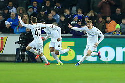 12 February 2017 - Premier League - Swansea City v Leicester City - Alfie Mawson of Swansea City celebrates scoring the opening goal for his side (1-0) - Photo: Paul Roberts / Offside