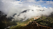 Clouds envelope Tengboche Monastery, Khumbu (Everest) region, Sagarmatha National Park, Himalaya Mountains, Nepal.
