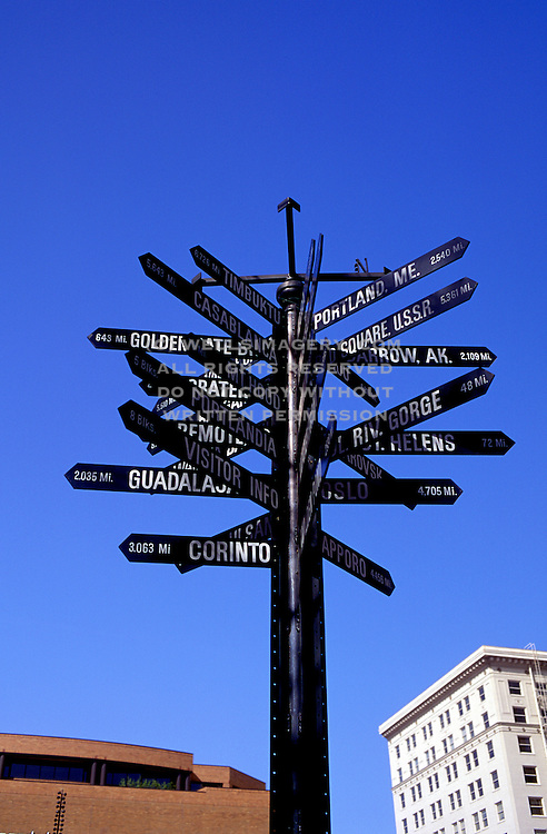 Image of direction signs in downtown Portland, Oregon, Pacific Northwest by Randy Wells