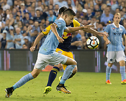 September 20, 2017 - Kansas City, Kansas, U.S - Sporting KC forward Daniel Salloi #30 (front) is on offense against NY Red Bulls midfielder Sacha Kjestan#16 (behind) during the second half of the game. Sporting KC will win the 2017 Lamar Hunt Open Cup championship with a score of 2-1 over the New York Red Bulls. (Credit Image: © Serena S.Y. Hsu via ZUMA Wire)