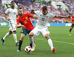 MOSCOW, July 1, 2018  Jordi Alba (C) of Spain vies with Roman Zobnin (R) of Russia during the 2018 FIFA World Cup round of 16 match between Spain and Russia in Moscow, Russia, July 1, 2018. (Credit Image: © Xu Zijian/Xinhua via ZUMA Wire)