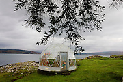 Dome greenhouse overlooking the Sound of Mull, Salen, Isle of Mull, Scotland.