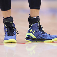 21 April 2014: Close view of Golden State Warriors guard Stephen Curry (30) shoes during the Los Angeles Clippers 138-98 victory over the Golden State Warriors, during Game Two of the Western Conference Quarterfinals of the NBA Playoffs, at the Staples Center, Los Angeles, California, USA.